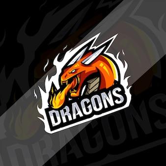 ドラゴンマスコットのロゴのテンプレート