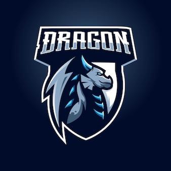 モダンなイラストとドラゴンのマスコットのロゴ