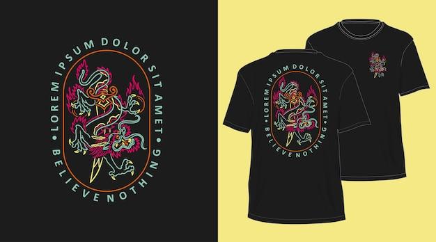 ドラゴンネオンモノライン手描きtシャツデザイン