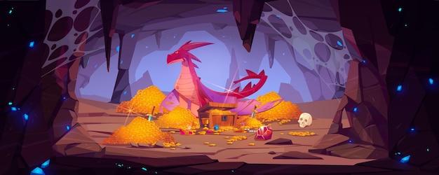 Дракон защищает кучу золота в пещере, фантастический персонаж охраняет сокровища в горной пещере
