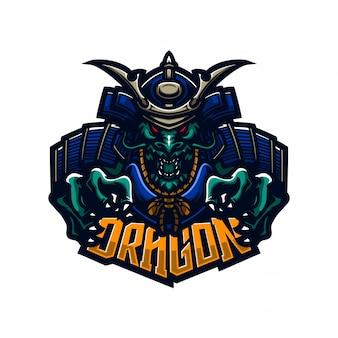 Дракон самурай рыцарь премиум шаблон логотипа талисмана