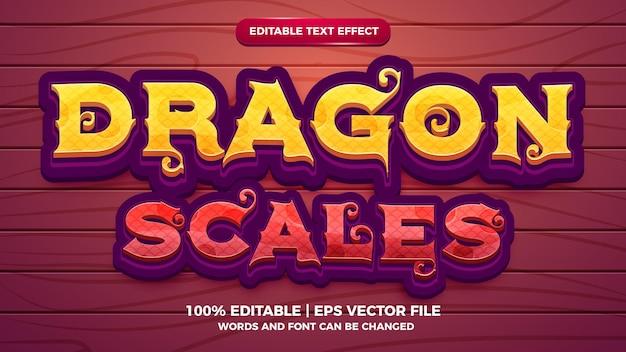 Весы дракона редактируемый текстовый эффект мультяшная игра в стиле 3d шаблона