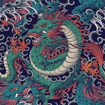 Dragon seamless pattern for clothing fabric and backrground design