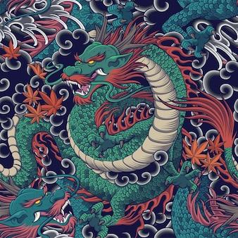 衣類の生地と背景デザインのドラゴンシームレスパターン