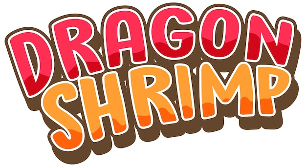 Dragon shrimp font design in cartoon style isolated on white