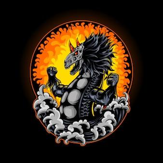 Dragon skull horned wave