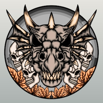Dragon skull with human skull isolated on gray
