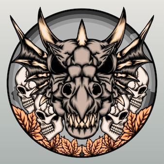 灰色で分離された人間の頭蓋骨とドラゴンの頭蓋骨