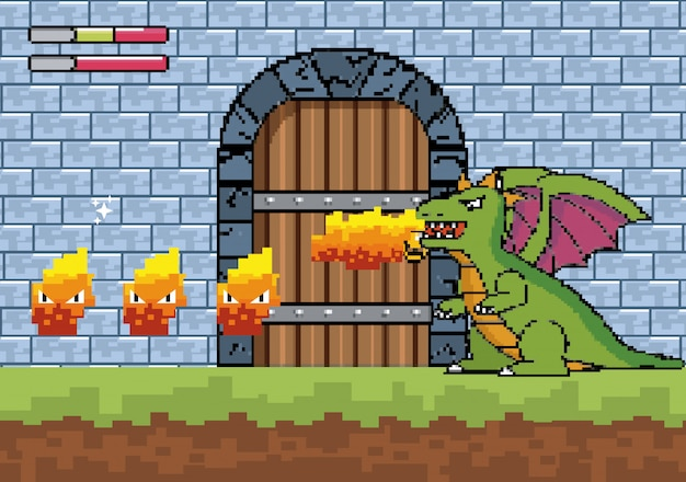 Dragon spits fire and character in the castle door