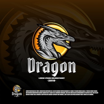 Dragon sport team logo template