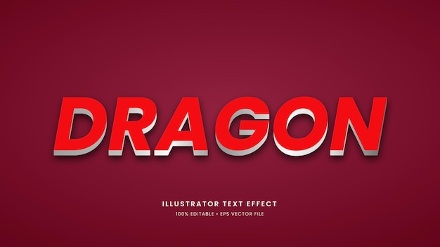 편집 가능한 글꼴이 있는 드래곤 스타일 3d 현대적인 텍스트 효과