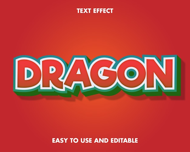 Dragon text effect. editable font style.