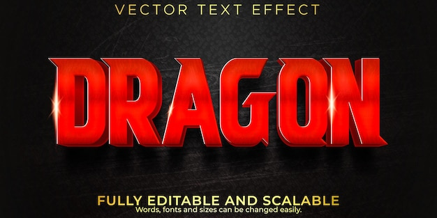 Текстовый эффект дракона, редактируемый стиль текста самурая и истребителя