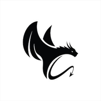 Дракон племенных векторных силуэт черный иллюстрация геральдической легенды животных
