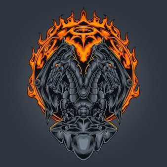 Dragon two headed vector illustration