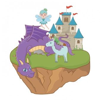Dragon unicorn and fairy of fairytale illustration