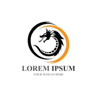 Шаблон логотипа дизайна иллюстрации значка вектора дракона