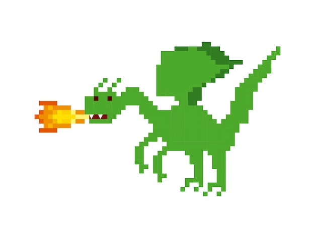 Dragon video game pixelated character