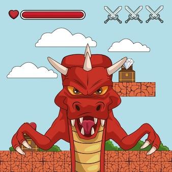 Dragon on videogame scenery cartoon