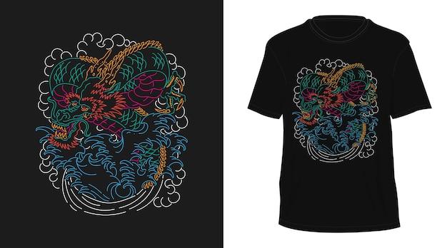 Дракон винтажный монолин рисованной дизайн футболки