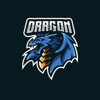 Dragon wing mascot illustration for esport gaming team logo design