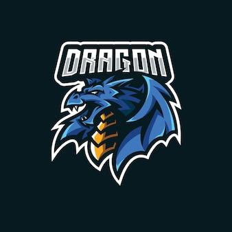 E스포츠 게임 팀 로고 디자인을 위한 드래곤 윙 마스코트 그림