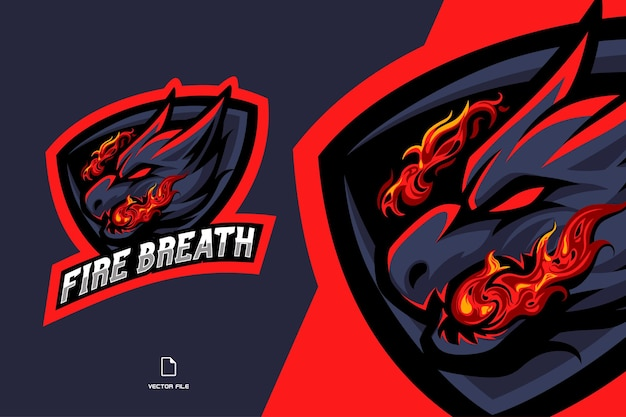 Dragon with fire breath mascot esport logo illustration for game team