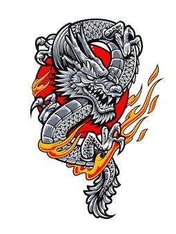 Дракон с пламенем огня в красном круге. японская татуировка в стиле векторной графики.