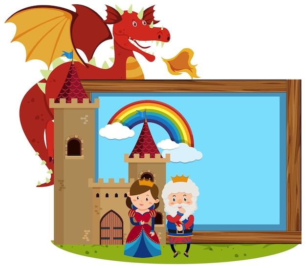 Dragon with king and queen at castle banner template