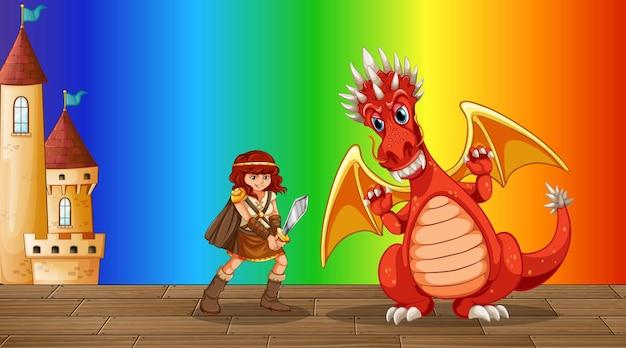 虹のグラデーションの背景に戦士の女の子の漫画のキャラクターとドラゴン