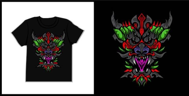 Иллюстрация футболки дракона zax