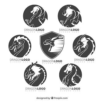 Коллекция логотипов dragon с плоским дизайном