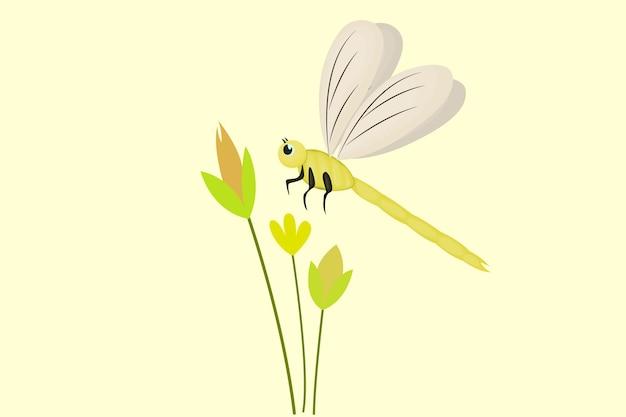 かわいいトンボと暖かい季節の花