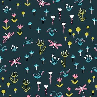 トンボ、ハーブ、花の苗床のシームレスなパターンの暗い背景