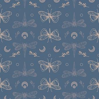 Dragonflies and moths. halloween magic seamless pattern