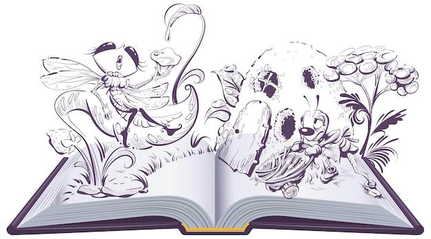 トンボとアリの寓話の開いた本のイラスト。