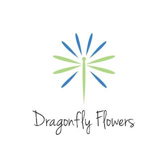 잠자리와 꽃 단순하고 세련된 창조적 인 기하학적 현대 로고 디자인