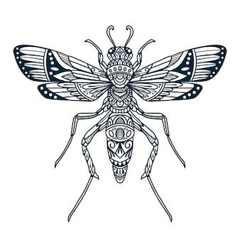 Dragonfly beetle doodle illustration