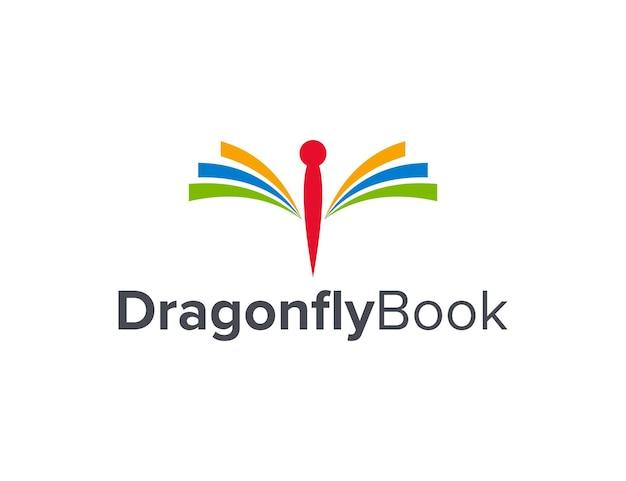 Dragonfly and book simple sleek creative geometric modern logo design