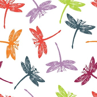 Dragonfly colorful seamless pattern