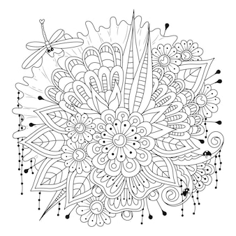 A dragonfly flies over a bouquet of flowers coloring page art line  illustration