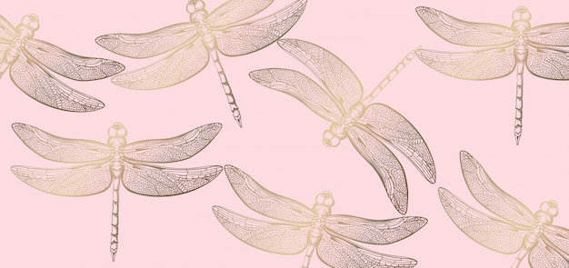 Dragonfly golden pattern line art. texture shiny decors