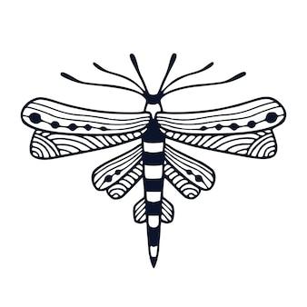 Иллюстрация стрекозы в орнаментальном стиле для татуировки или дизайна футболки. детский интерьерный принт с рисованной черно-белой стрекозой.