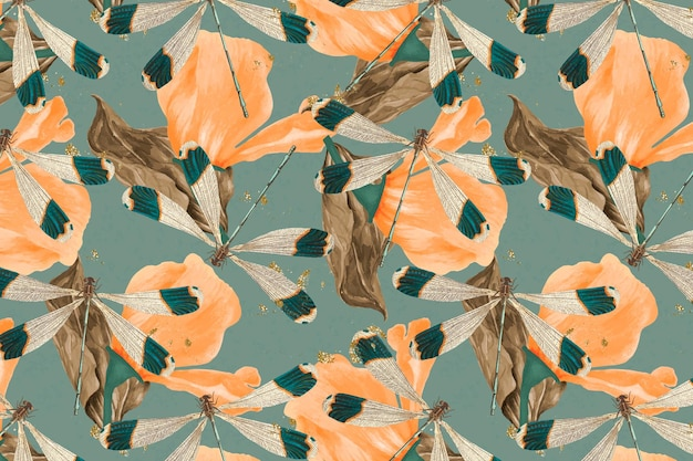 Dragonfly and leaf abstract pattern vector, vintage remix from the naturalist's miscellany by george shaw