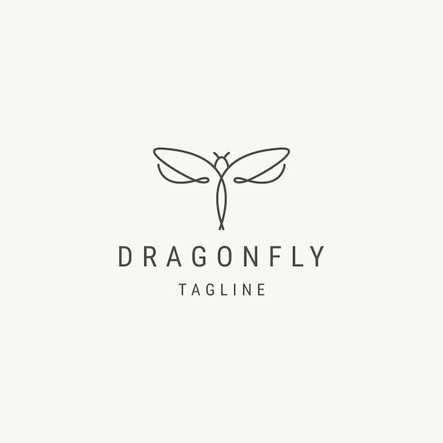 Dragonfly line logo design template
