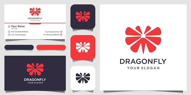 Стрекоза логотип дизайн шаблона и дизайн визитной карточки векторные иллюстрации