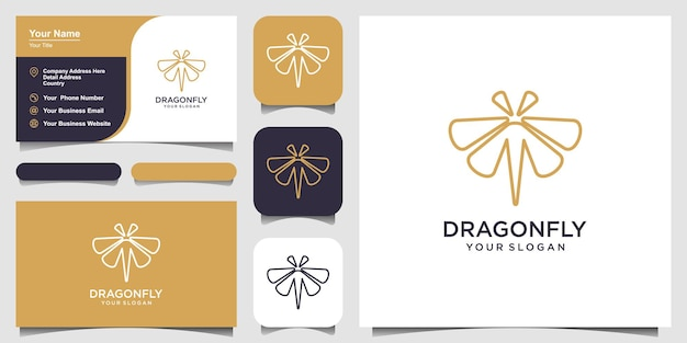 Dragonfly logo design template line art style and business card design vector illustration