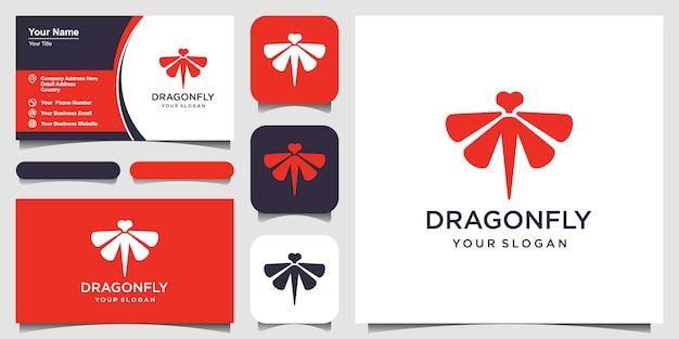 Dragonfly logo  template and business card design  illustration