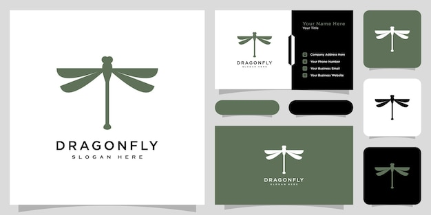 Dragonfly logo vector design line style and business card
