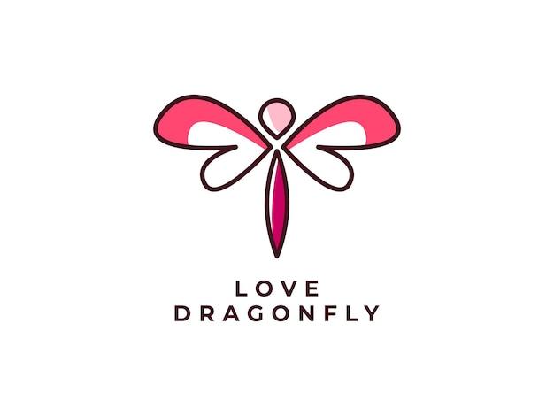 Концепция дизайна логотипа моно линии стрекозы